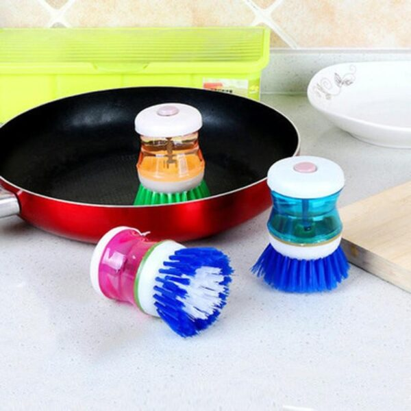 New Arrival Fashion Easy Use Palm Scrubber Wash Clean Tool Holder Soap Dispenser Brush Dish Washer 1