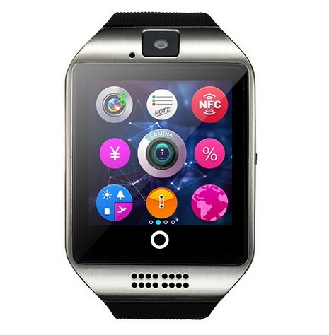 Wearable Devices Q18 Passometer Smart watch with Touch Screen camera TF card Bluetooth smartwatch for Android Silver