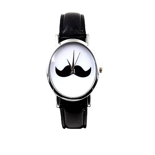 watch mustache leather watch for men black mw 923 image1
