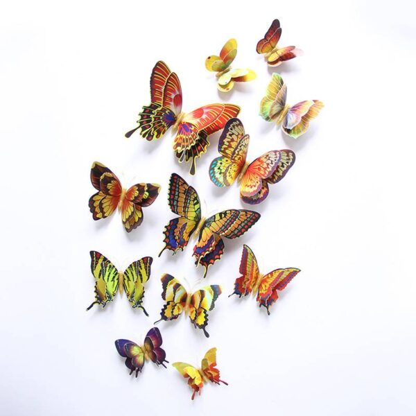 12Pcs Gold Silver Double layer 3D Butterfly Wall Sticker 6