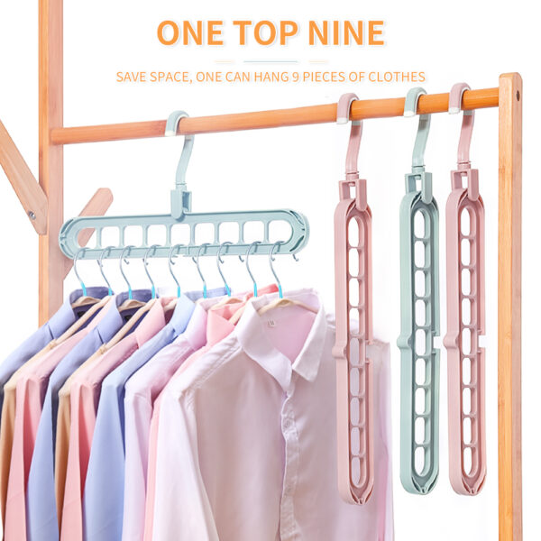 9 Hole Clothes Hanger Multi port Support Circle Clothes Dry