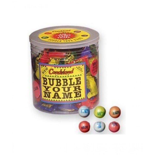 candlyland bubble your name bubble gum jar of 90